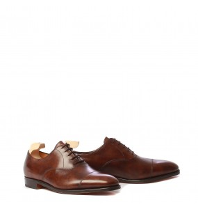 John Lobb City II, dark brown museum calf, last 7000, fitting EE-F, suola cuoio