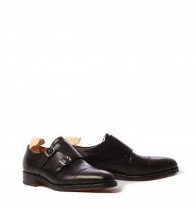 John Lobb William, black calf, last 9795, fitting EE, doppia suola cuoio