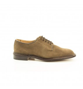 mod. Robert, derby blucher, unlined, new brown suede, leather sole, last w2298, fitting 5