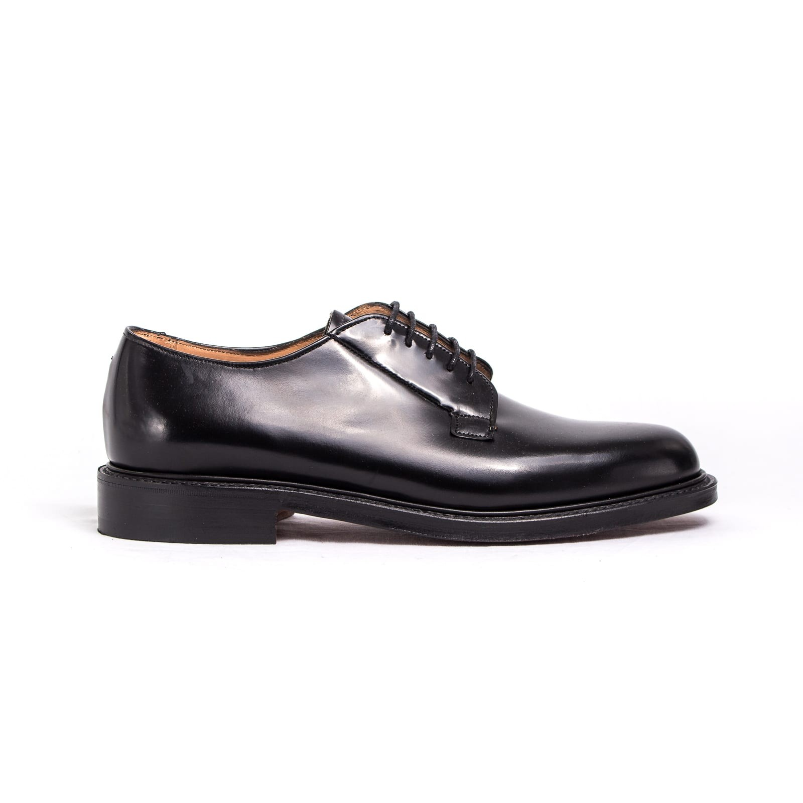 mod. Deal, derby blucher, black hi-shine, double leather sole, fitting G, last 175