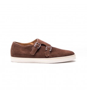 mod. Holme, double monk sneaker, chestnut suede, white rubber sole, last 0318