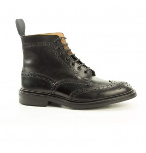 mod Stow, stivaletto coda di rondine stringato, vitello nero, last 4497s, fitting 5, suola dainite